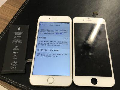 北九州市よりiPhone6のガラス割れ+バッテリー交換